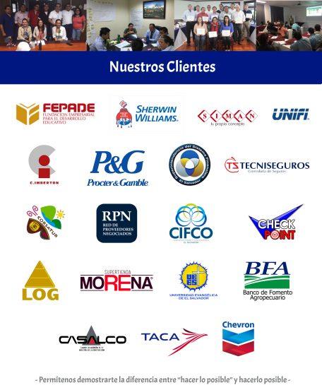 Los Clientes PROCEM son FEPADE, C Imberton, Sherwin Williams, CORSATUR, LOG, Chevron, El Salvador