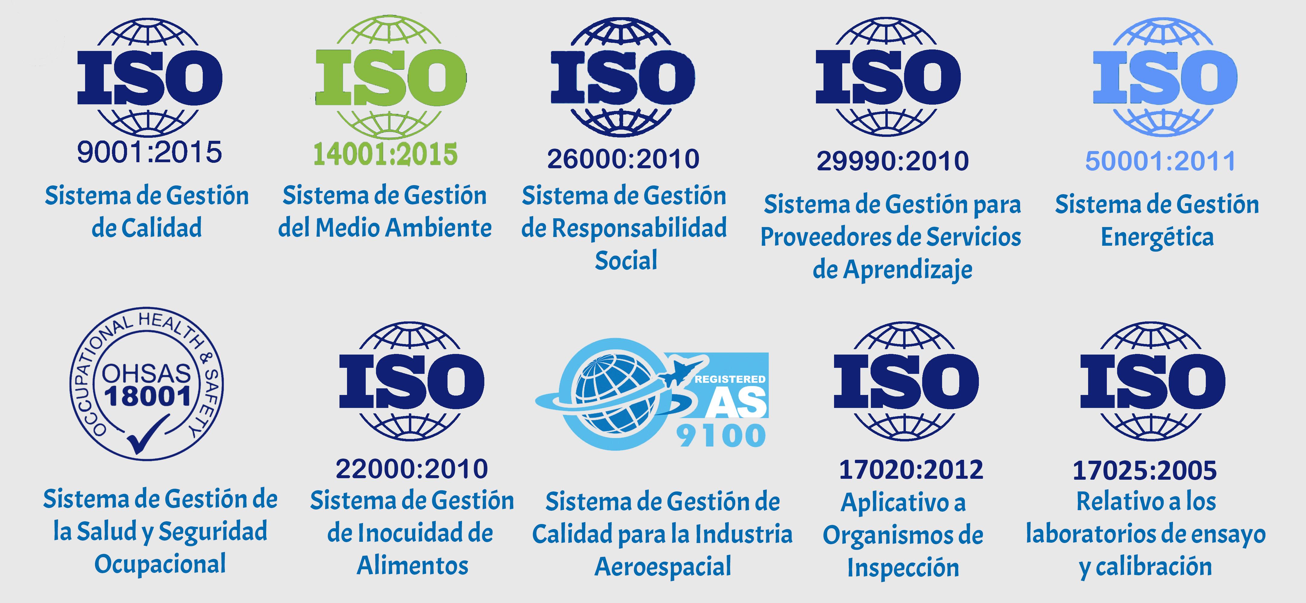 Certificación bajo las diferentes normas ISO y AS